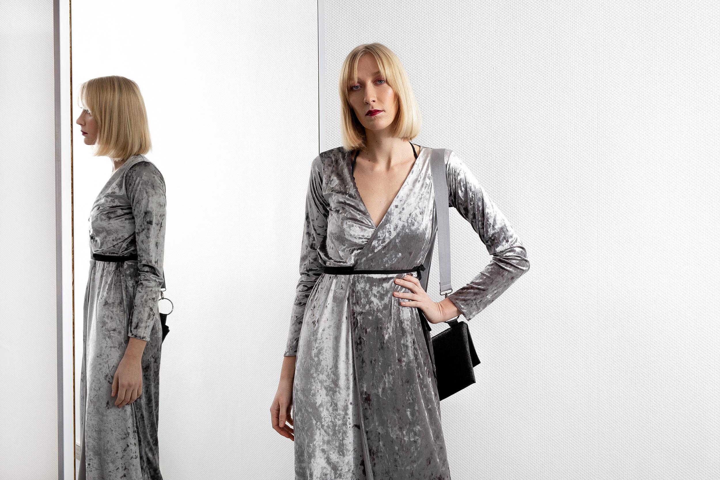 Silver Velvet Dress Kristina S Studios
